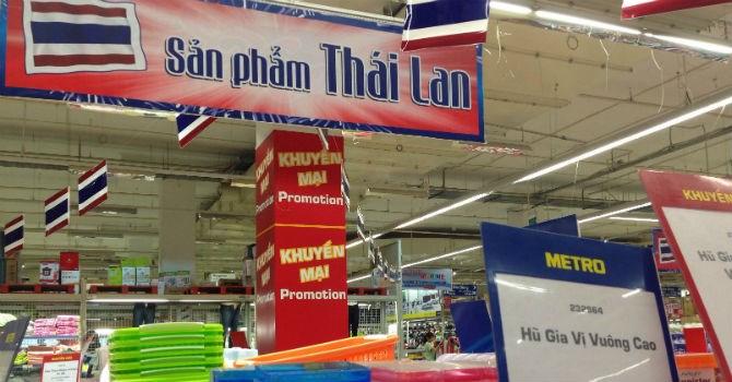 Hàng Thái Lan xuất hiện nhiều hơn trên các kệ hàng tại Metro Hà Đông. Ảnh: N.Thảo