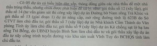 Kết luận Thanh tra Chính phủ về nghi án thông thầu ở dự án Đường bờ Nam sông Trà Khúc do Tập đoàn Phúc Sơn thi công.