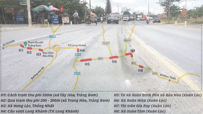 Những khu vực bị hư hỏng rải đều trên quốc lộ 1 đoạn qua Đồng Nai - Nguồn & ảnh: Sơn Định - Đồ họa: Như Khanh