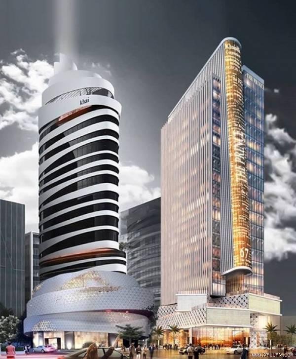 Thiết kế dự kiến của hai tòa tháp trị giá 40 triệu USD do công ty Khai Silk làm chủ đầu tư.
