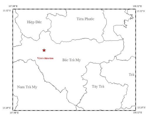 Bản đồ chấn tâm động đất- ảnh Viện vật lý địa cầu.