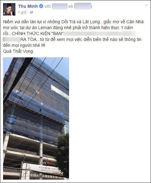 Dòng trạng thái đi kèm hình ảnh căn hộ trong mơ của Thu Minh