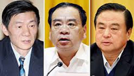 Hà Gia Thành, Vương Mẫn và Vũ Trường Thuận (từ trái sang), 3 trong 7 quan tham liên đới tới Triệu Tấn.