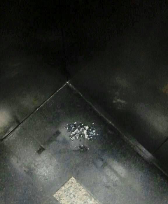Một em nhỏ bị nôn trớ khi bị mẹ ép ăn trong thang máy tại một chung cư trên đường Hoàng Quốc Việt.