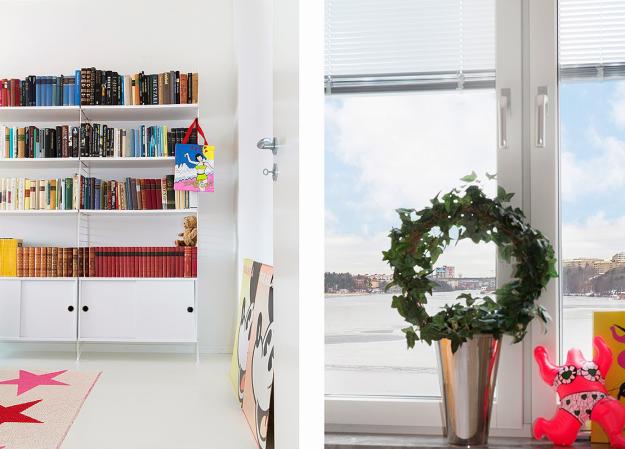 Căn phòng nghỉ ngơi của mọi người trong gia đình khá đơn giản với giường ngủ và hệ thống kệ đựng sách, tài liệu.