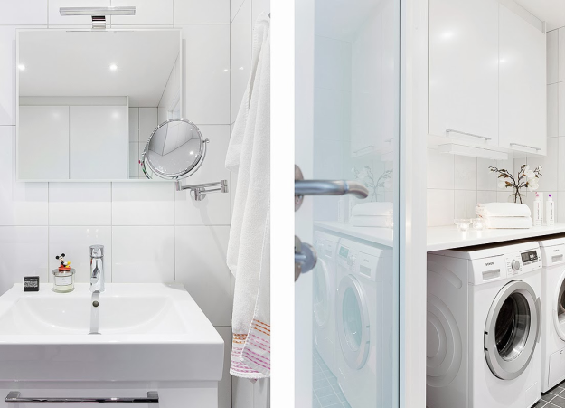 Vẫn giữ gam trắng làm màu chủ đạo xuyên suốt, phòng tắm vẫn toát lên được nét đẹp tinh tế từ phụ kiện, đồ gia dụng gọn gàng cùng gạch lát sàn màu đen nổi bật.