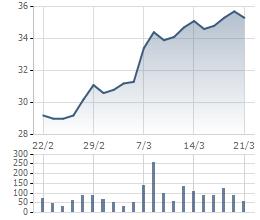 HSG là một trong những cổ phiếu tăng mạnh nhất ngành thép