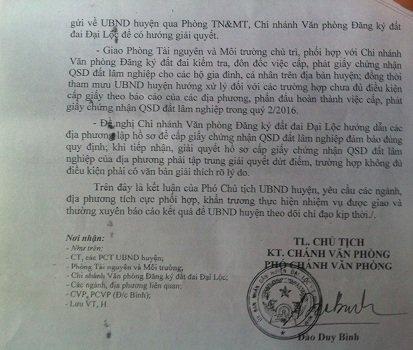 Người dân huyện Đại Lộc sẽ được nhận sổ đất lấm nghiệm trong quý 2.2016. Đ.T
