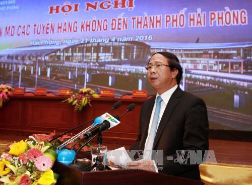 Bí thư Thành ủy, Chủ tịch Ủy ban nhân dân thành phố Hải Phòng Lê Văn Thành phát biểu tại Hội nghị. Ảnh: Lâm Khánh/TTXVN