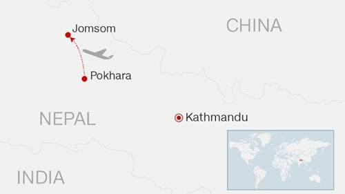 Hành trình bay dự kiến của máy bay hãng Tara Air. Đồ họa: CNN