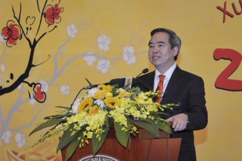 Thống đốc Nguyễn Văn Bình phát biểu tại buổi gặp mặt đầu Xuân