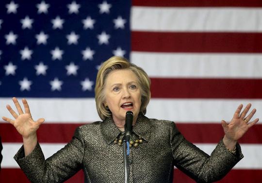 Bà Clinton phát biểu tại bang Indiana tối 26-4. Ảnh: Reuters Hải Ngọc (Theo Reuters)