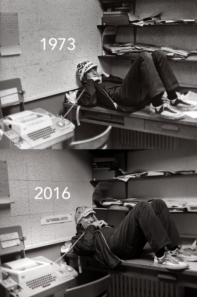 Bức ảnh theo trào lưu before - after được Bill Gates chia sẻ trong chương trình AMA lần này.