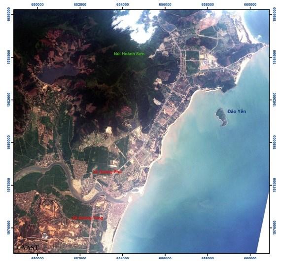 Ảnh vệ tinh VNREDSat-1 khu vực lân cận Vũng Áng. Ảnh: VAST