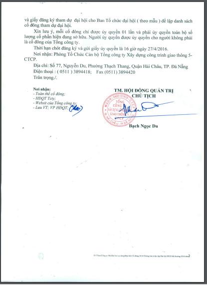 Thông báo triệu tập họp ĐHCĐ bất thường vào 28/04 được Chủ tịch Bạch Ngọc Du ký vào ngày 19/04/2016