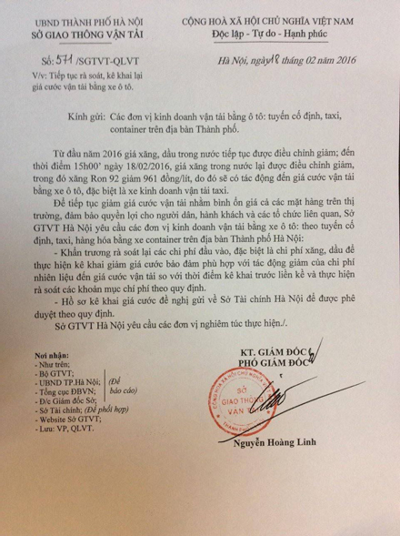 Văn bản yêu cầu các đơn vị kinh doanh vận tải trên địa bàn Hà Nội rà soát chi phí để giảm giá cước.