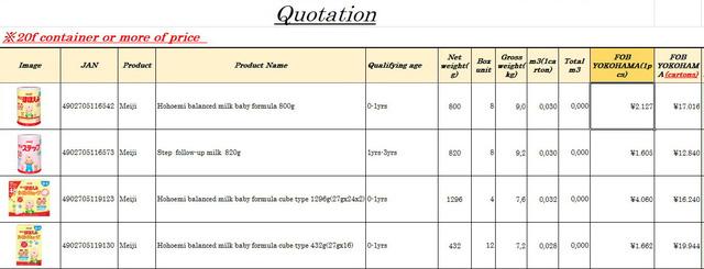 'Bảng giá sữa giao tại cảng Yokohama. Mức giá trên chỉ áp dụng cho đơn hàng trên 7.000 hộp sữa.'