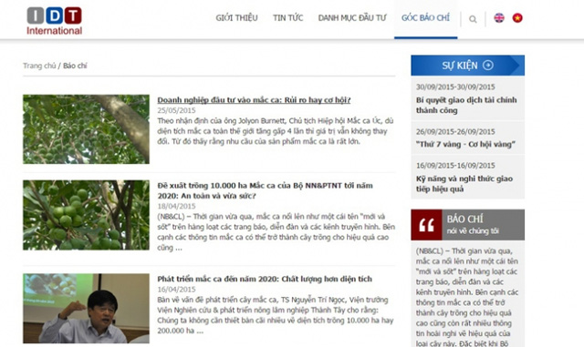 IDT dành không ít thông tin đăng tải về các vấn đề liên quan đến cây mắc-ca