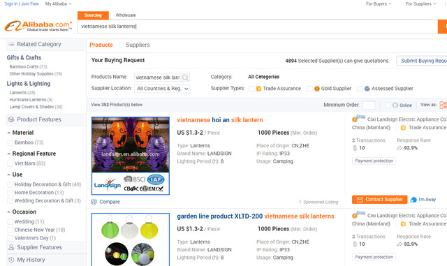 Gian hàng sản phẩm lụa Việt Nam trên Alibaba.com
