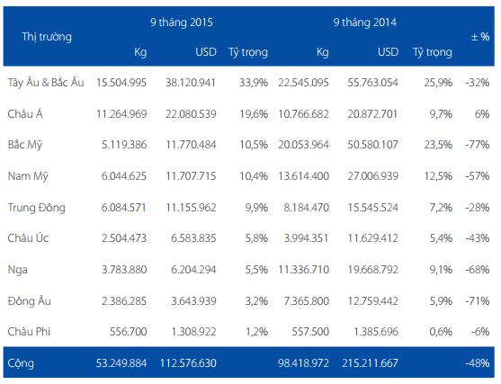 Giá trị xuất khẩu cá tra của HVG tại các thị trường