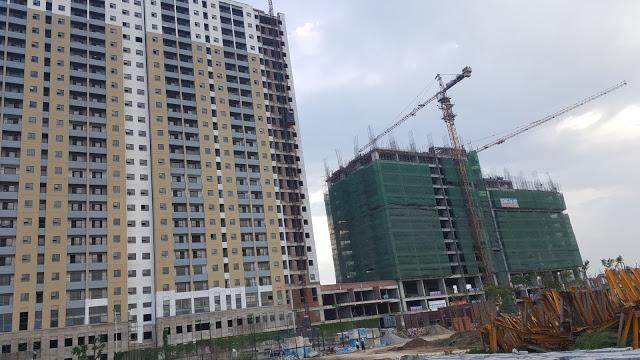 Hiện tại tòa T1 đã xây xong và đang hoàn thiện nội thất, tòa T2 đang xây dựng phần thô