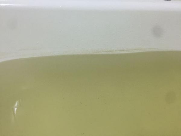 Trên thành bồn tắm có xuất hiện những mảng bám màu đen rất bẩn.