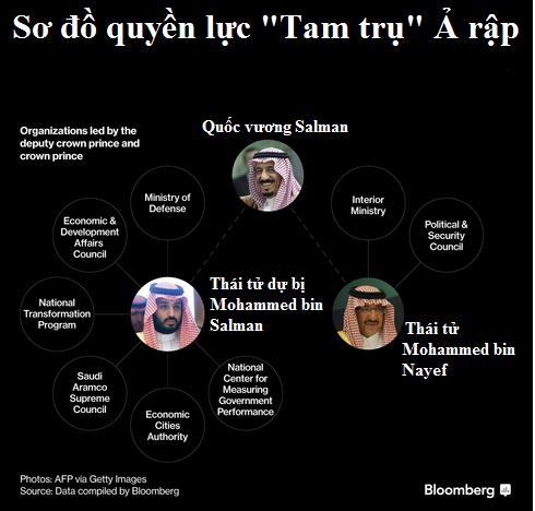 Thái tử dự bị Mohammed bin Salman nắm trong tay quyền lực không tưởng, thậm chí còn vượt tầm ảnh hưởng của Hoàng thái tử kể từ khi cha ông lên nắm quyền Quốc vương tháng 1/2015. Hiện nay Mohammed đang điều hành một số tổ chức bao gồm lực lượng quân đội của quốc gia, công ty dầu mỏ lớn nhất thế giới, quỹ đầu tư quốc gia và các bộ ngành kinh tế