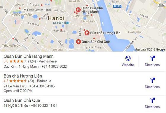Bún chả Hương Liên nhanh chóng được trở thành địa điểm gợi ý đến thăm của Google