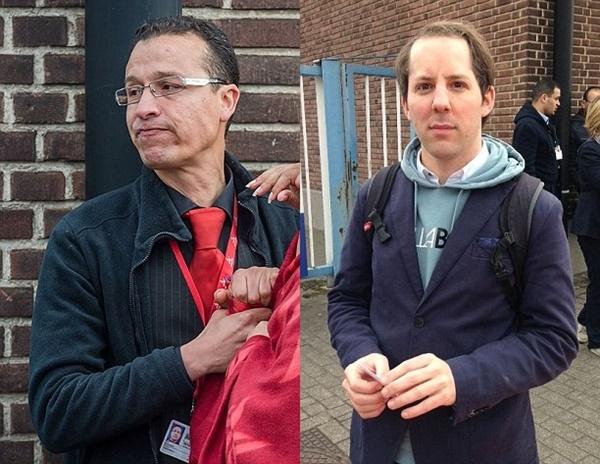 """Sami Derrouich (trái) mô tả cảnh tượng vụ đánh bom như """"ngày tận thế"""" còn anh Valaert (phải) nói rằng đây là vụ nổ lớn, khủng khiếp."""