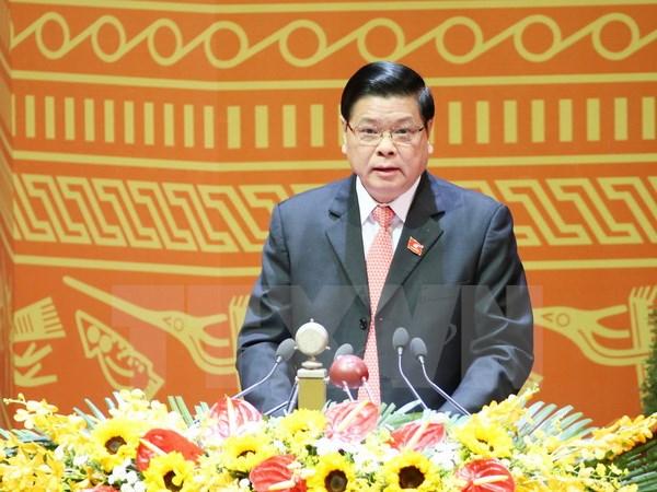 Đồng chí Mai Thế Dương, Ủy viên Trung ương Đảng, Phó Chủ nhiệm Thường trực Ủy ban Kiểm tra Trung ương trình bày tham luận. (Ảnh: TTXVN)
