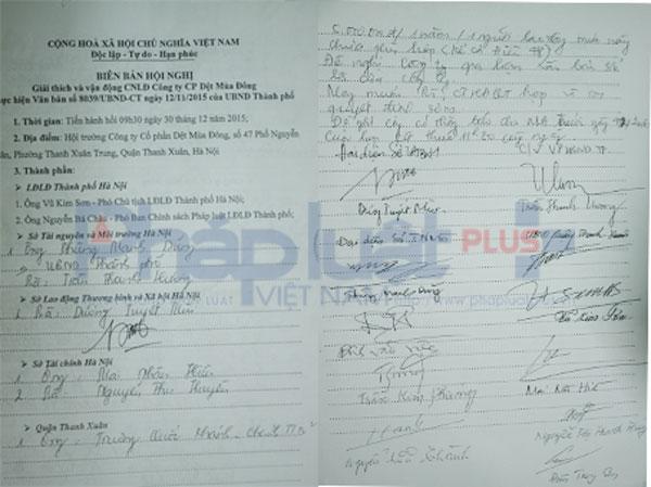 Biên bản Hội nghị và chữ ký đại diện của các Sở, ban ngành tại hội trường Cty Dệt