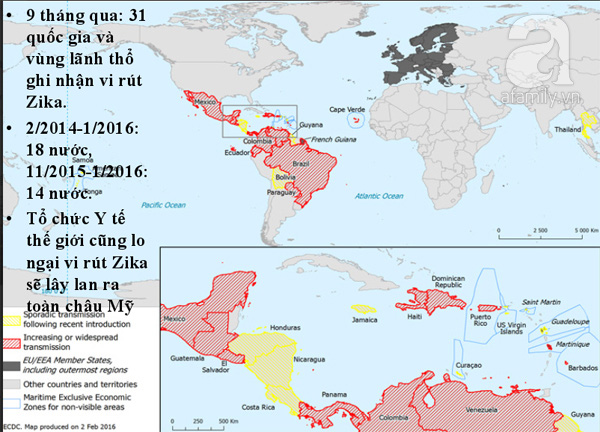 Những nước đã có Zika