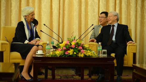 Tổng Bí thư Nguyễn Phú Trọng và Tổng Giám đốc Quỹ Tiền tệ Quốc tế (IMF) -Ảnh: Quang Định