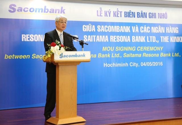 Ông Kazuhiro Higashi, Chủ tịch Resona Holdings kiêm Tổng giám đốc Resona Bank Ltd., phát biểu tại buổi lễ ký kết