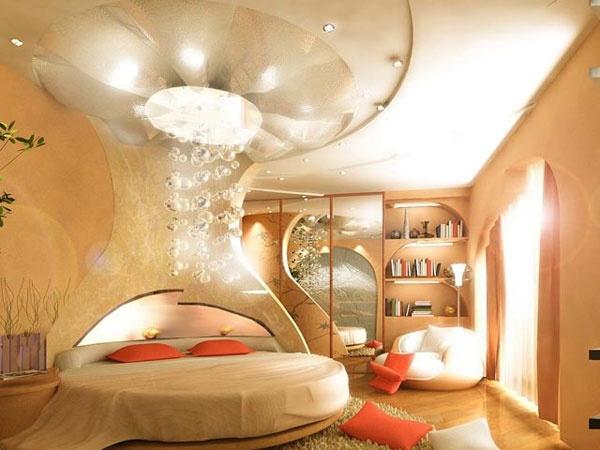 Một chiếc giường tròn điệu đà cùng ánh sáng nhẹ nhàng mang lại cho nhà bạn không gian ấm áp đầy bí ẩn và cuốn hút.