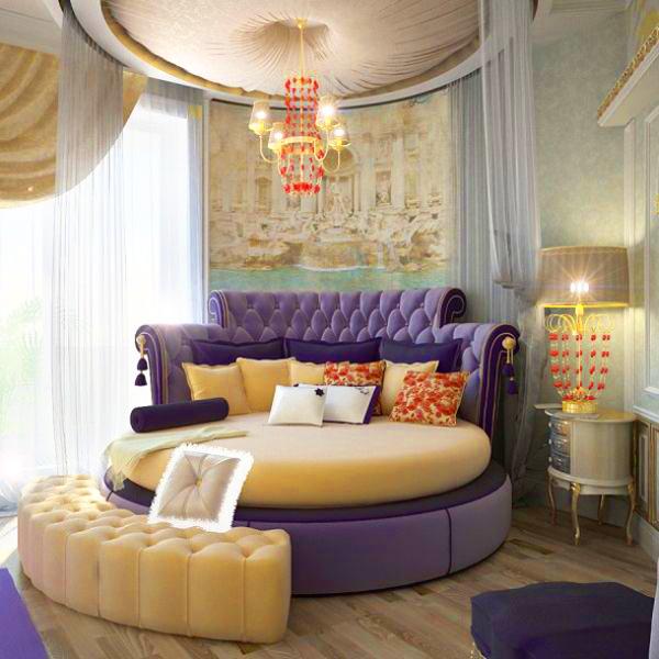 Một chiếc giường tròn màu tím sẽ tạo cho phòng ngủ nhà bạn một cảm giác dịu dàng, êm ái.