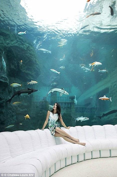 Bên trong lâu đài còn có căn phòng dưới nước tuyệt đẹp.