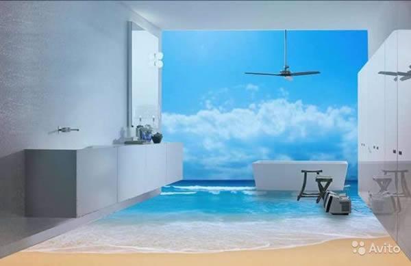 Sàn nhà tắm bỗng chốc hóa thành bãi biển sóng xô bờ cát trắng.