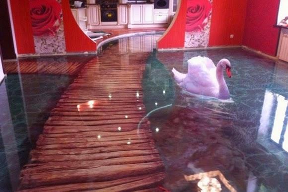 Cả Thiên Nga cũng như đang bơi lội trong nhà.