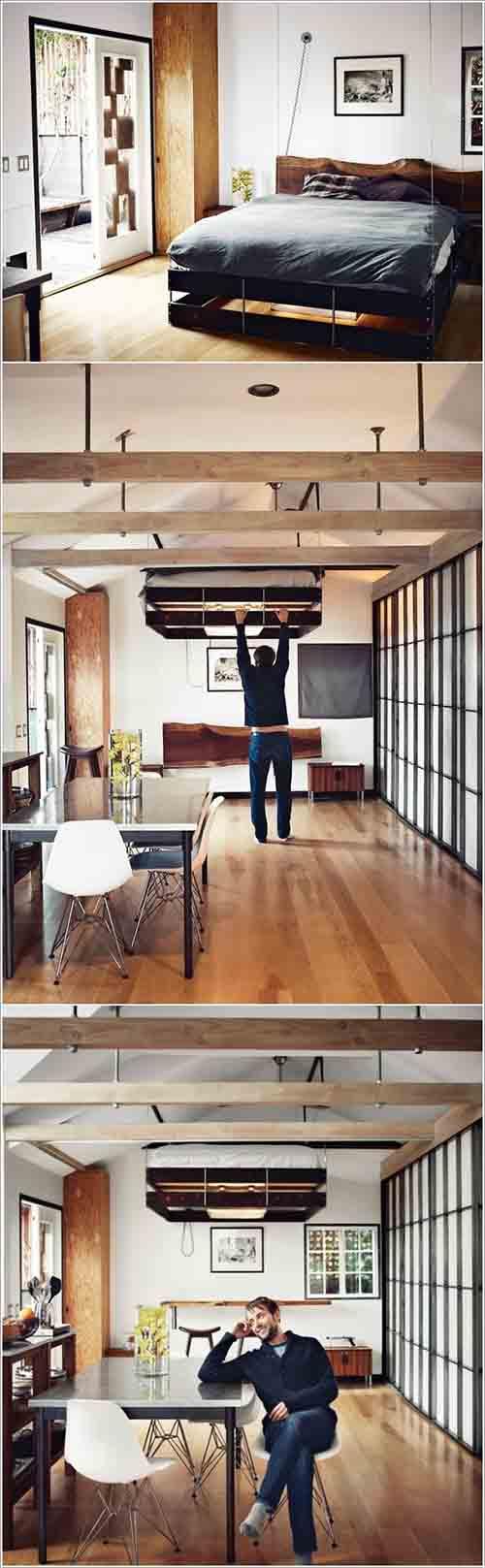 Với chiếc giường treo có thể nâng lên hạ xuống này giúp bạn tận dụng được rất nhiều không gian tiện ích trong ngôi nhà.