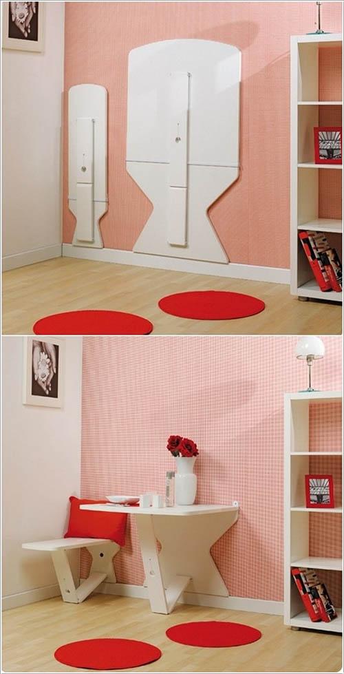 Bộ bàn ghế gập vào tường thông minh này là sự lựa chọn hoàn hảo nhất cho nhà diện tích nhỏ. Ngôi nhà của bạn thực sự sẽ trở nên lạ hơn với món đồ nội thất này.