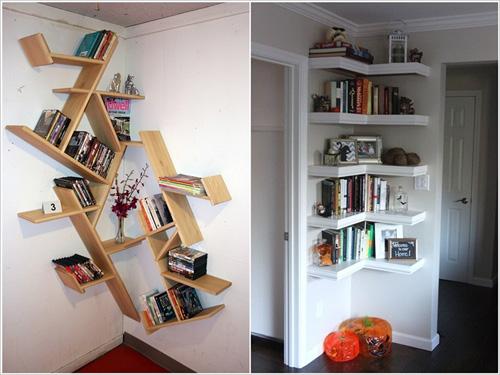 Góc nhà thường là nơi lãng phí nhất trong căn phòng, nhưng với những người yêu sách, bạn có thể đặt kiểu giá đơn giản hoặc cách điệu, khiến góc nhà trở nên sinh động và thu hút hơn.