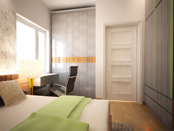 Phòng ngủ với gam màu nhẹ nhàng nhưng không kém phần sang trọng.