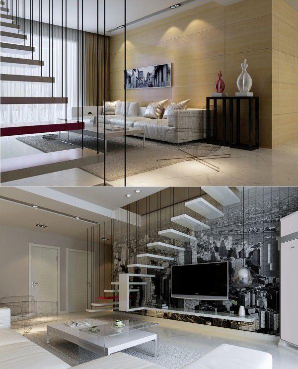 Cầu thang treo lơ lủng ở mặt trước của bức tường phòng khách thế này cũng sẽ là một ý tưởng vô cùng thú vị.