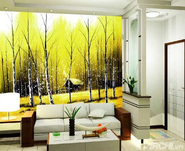 Hay bạn cũng có thể dùng giấy dán tường cho bức tường phòng khách nhà mình thêm bừng sáng.