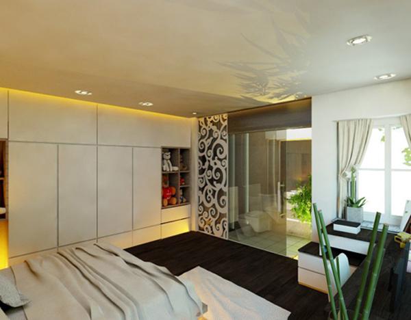 Nhà tắm cùng trong không gian phòng ngủ sử dụng vách kính để lấy ánh sáng tự nhiên vừa giúp không gian mang tính thẩm mỹ cao.
