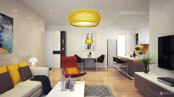 Phòng khách này lấy tông màu chủ đạo là màu trắng kết hợp một số họa tiết đèn chùm và gối tựa lưng màu vàng chanh làm điểm nhấn cho cả căn phòng.