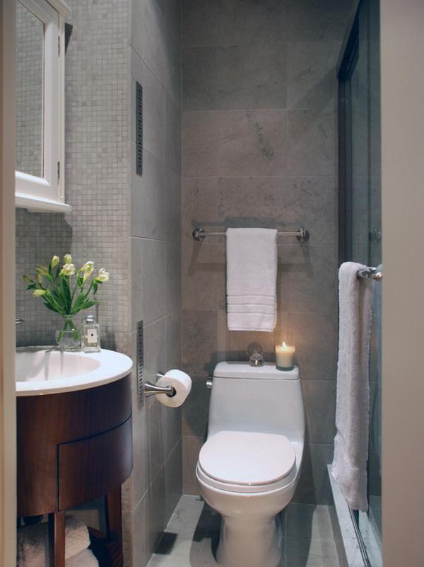 Một không gian vệ sinh nhỏ nữa cho thấy việc sử dụng các thiết bị vệ sinh cong tròn, vát góc để tiết kiệm diện tích hơn.