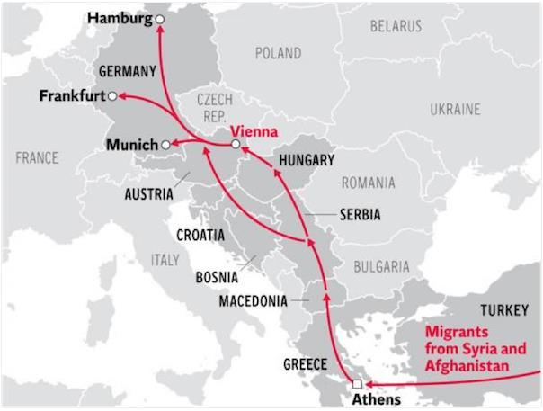 Đường đi của những người di cư từ Thổ Nhĩ Kỳ, qua Hy Lạp để vào EU