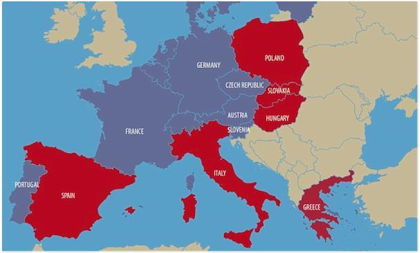 Những nước màu đỏ sẽ không có tên trong khu vực Schengen